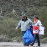 Walking the trash to the dumpsters, Buckets are such a useful tool, Our thanks to Ace Hardware, Apache Junction and Home Depot, Mesa for the donation of all the buckets!